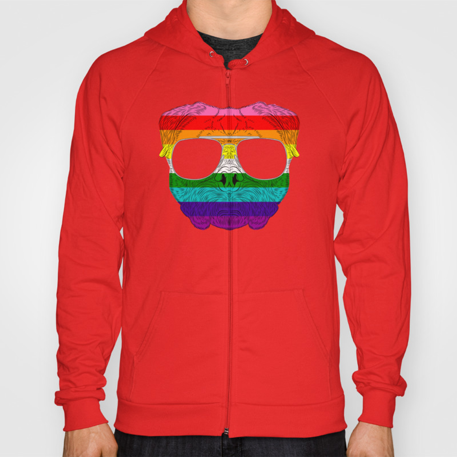 Pug Dog Face Gay Pride Rainbow with Sunglasses Hoody by phoxydesign