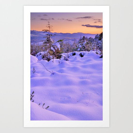 """Fresh snow at sunset"". Into the woods Art Print"