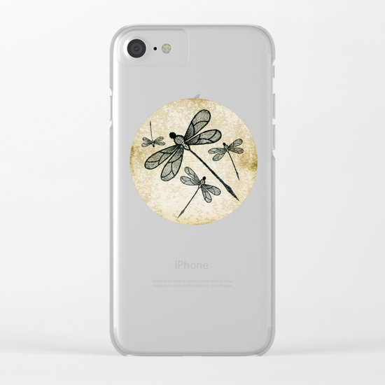 Dragonflies on tan texture Clear iPhone Case