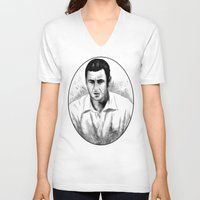 snl V-neck T-shirts featuring DARK COMEDIANS: Adam Sandler by Zombie Rust