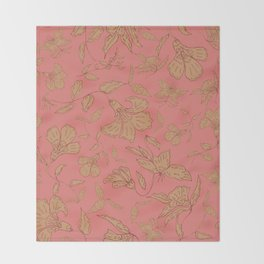 Coral Classic Floral Throw Blanket