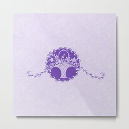 Vintage Floral Purple Metal Print