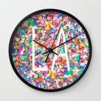 la Wall Clocks featuring LA by StuartWallaceArt