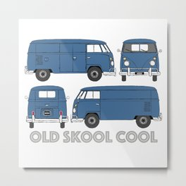 old skool cool – vintage commercial panel van in Dove Blue Metal Print