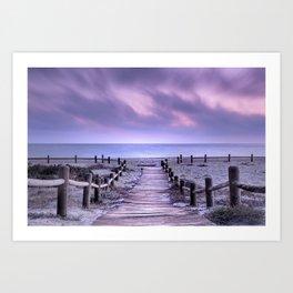 """To the beach...."" Purple sunset Art Print"