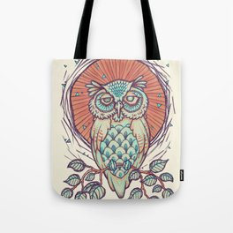 Owl on branch Tote Bag