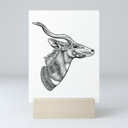 Lesser kudu ink illustration Mini Art Print
