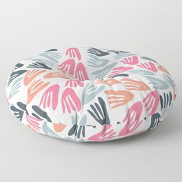 Papier Découpé Modern Abstract Cutout Pattern in Bright Pink, Apricot, Steel Blue, and White Floor Pillow