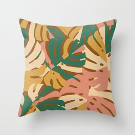 Monstera Leaves - Gold - Green - Pink Throw Pillow