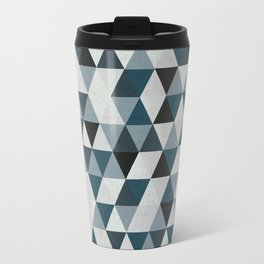 Sea Blue and Grey / Gray - Hipster Geometric Triangle Pattern 02 Travel Mug