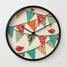 Home Birds 'N' Bunting. Wall Clock