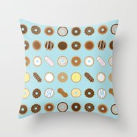 donuts Throw Pillows featuring Donuts by Dorothy Leigh