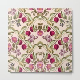 Pink Fruits and Flowers Pattern Metal Print