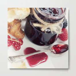 Croissants with jam (Valentine concept) Metal Print