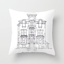 Historic House Line Drawing Throw Pillow