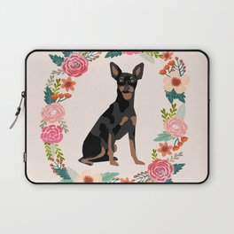miniature pinscher floral wreath dog breed pet portrait pure breed dog lovers Laptop Sleeve