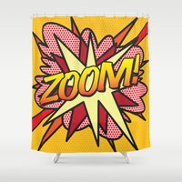 comic book Shower Curtains featuring Comic Book ZOOM! by Thisisnotme
