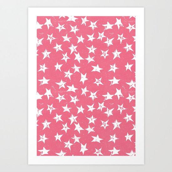Linocut Stars- Blush & White Art Print