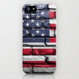 US Flag Painted on Wall Peeling on a City Street Art iPhone Case