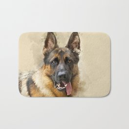 German Sheppard Portrait Bath Mat