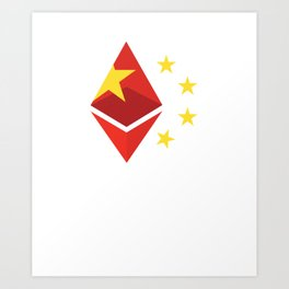 China flag ethereum Art Print
