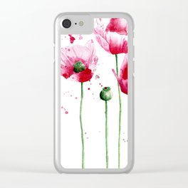 Expressive poppies || watercolor Clear iPhone Case