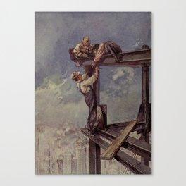 Engineering Wonders of the World 1909 - Building a sky-scraper Canvas Print