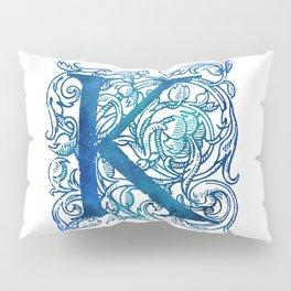 Letter K Antique Floral Letterpress Pillow Sham
