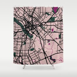 Dallas Street Map // Violet Theme Shower Curtain