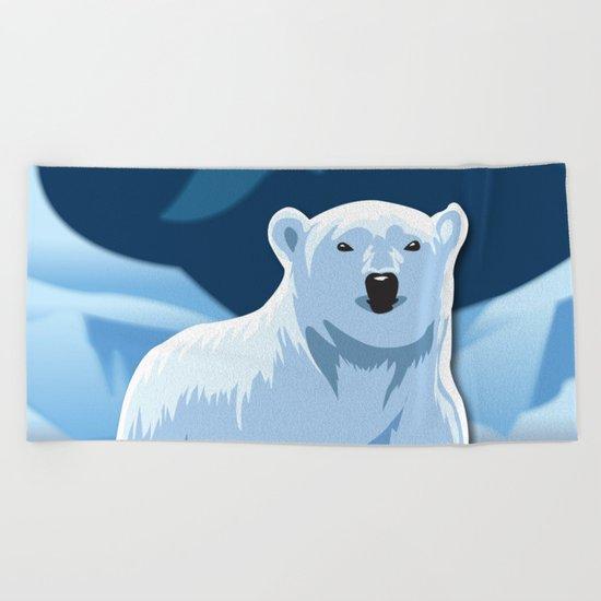 Lonely Polar Bear Beach Towel