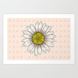 Daisy and Bees Art Print