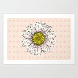 Daisy and Bees Art Print