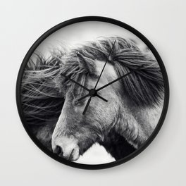 Icelandic Horse Photograph in Black and White Wall Clock