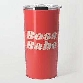 Retro Boss Babe - Coral Travel Mug