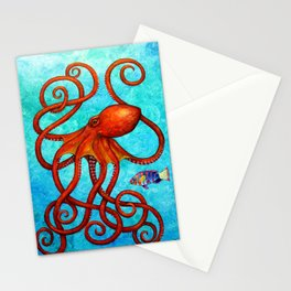 Distracted - Octopus and fish Stationery Cards