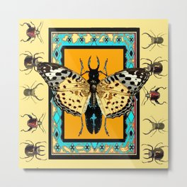 BUTTERFLY WESTERN YELLOW-ORANGE-TURQUOISE INSECT  PATTERNS Metal Print