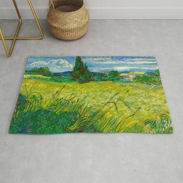 Green Wheat Field with Cypress Painting by Vincent van Gogh Rug
