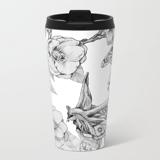 Moths & Camellias Metal Travel Mug