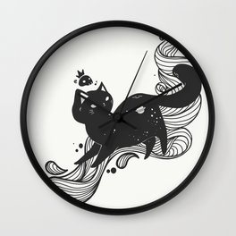 Kawaii Space Kitty Cat Artwork Wall Clock