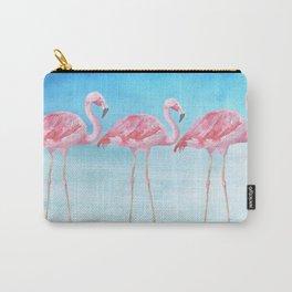Flamingo Bird Summer Lagune - Watercolor Illustration Carry-All Pouch