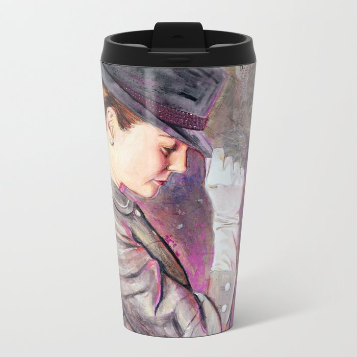 Grey Fedora Metal Travel Mug