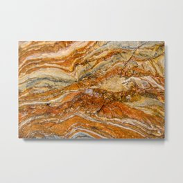 Orange Rock Texture Metal Print