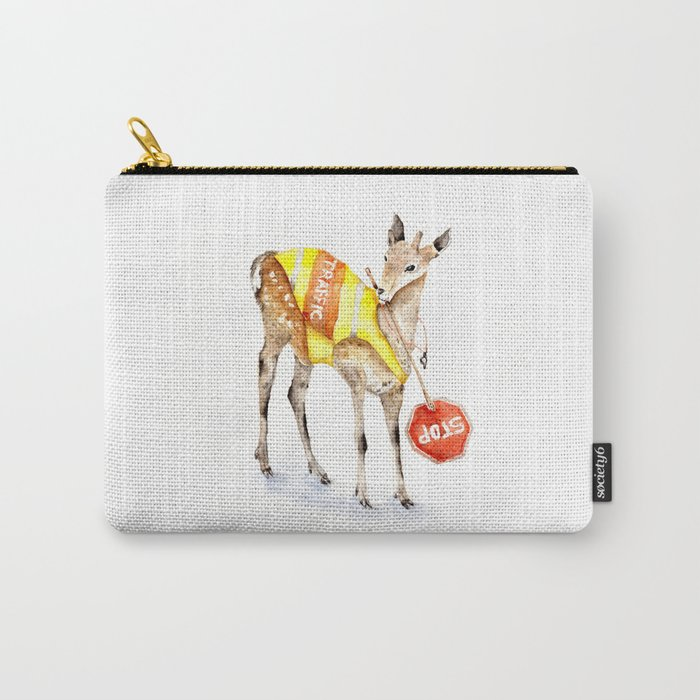 Traffic Controller Deer in High Visibility Vest Carry-All Pouch