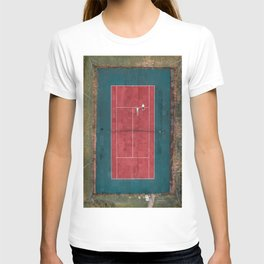 Tennis court, view of drone T-shirt