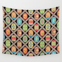 egg Wall Tapestries featuring Egg-stravaganza by Groovity