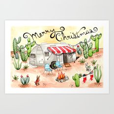 Airstream Christmas Art Print