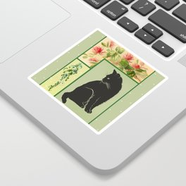 Patchwork Flowers and Cat Sticker