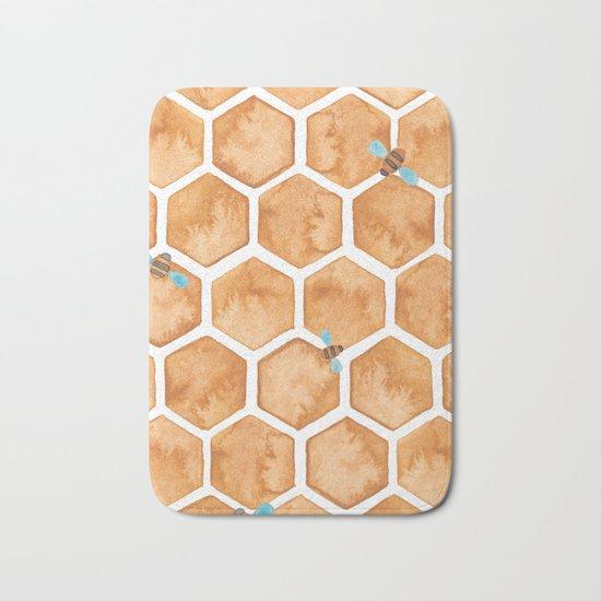Honey Bee Hexagons Bath Mat