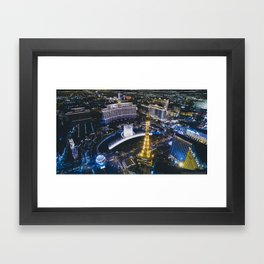 Las Vegas Strip at night from a high perspective Framed Art Print