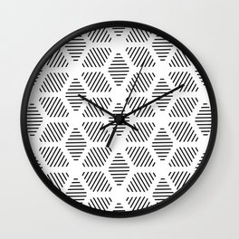 Geometric Line Lines Diamond Shape Tribal Ethnic Pattern Simple Simplistic Minimal Black and White Wall Clock